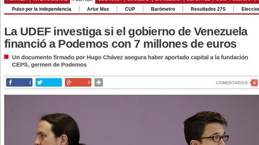 """""""La UDEF investiga si el gobierno de Venezuela financió a Podemos con 7 millones de euros"""", en El Periódico"""