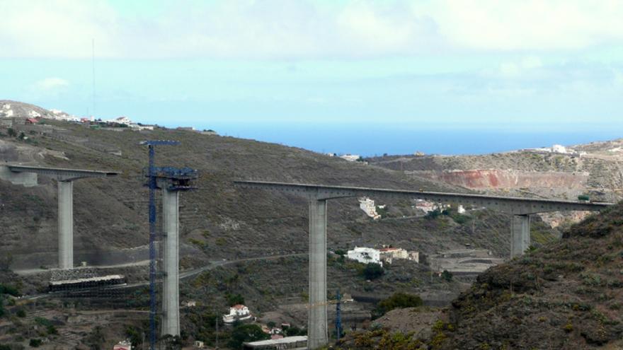 Obras de la cuarta fase de la Circunvalación de Las Palmas de Gran Canaria. Foto: Dagafle, skyscrapercity.com.