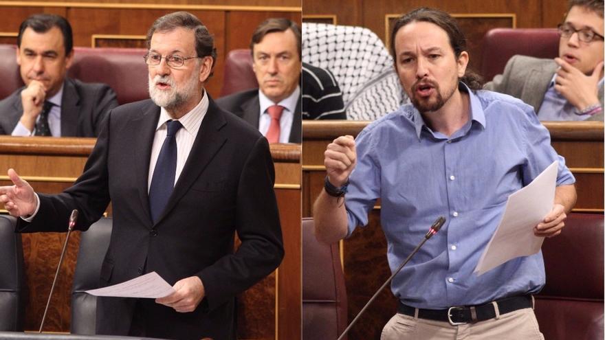 """Pablo Iglesias llama """"delincuente"""" a Rajoy por la corrupción y el presidente le replica con Venezuela e Irán"""