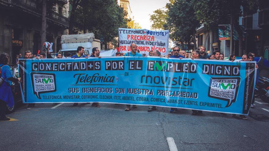 Protesta de subcontratados de Telefónica. FOTOGRAFÍA: MÒNICA PARRA/FOTOMOVIMIENTO