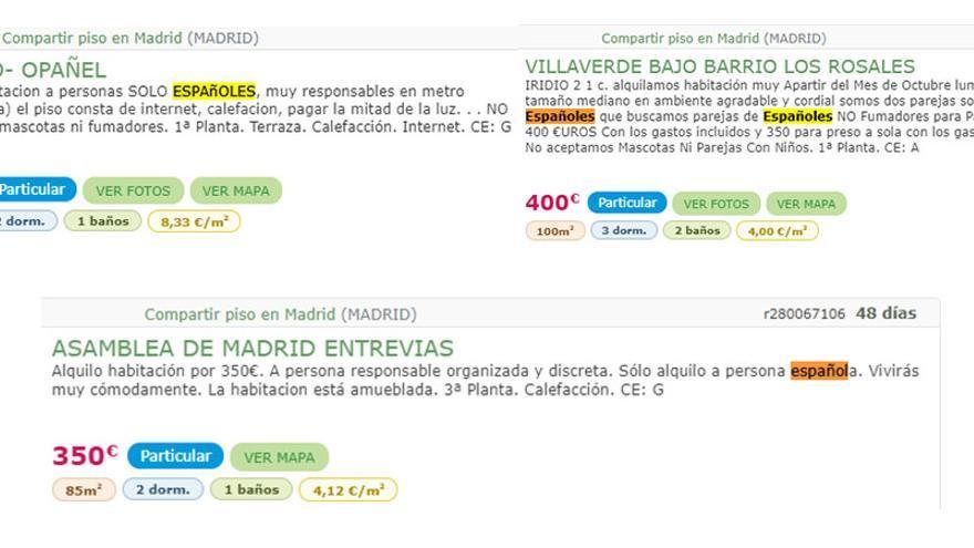 """Anuncios de pisos """"solo para españoles"""" en la web milanuncios.com"""