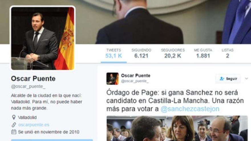 La cuenta de Óscar Puente, antes de que borrase los tuits