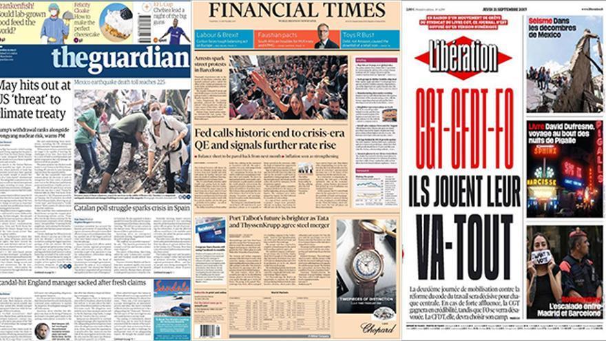 Portadas del 21/09/2017 de los principales periódicos europeos