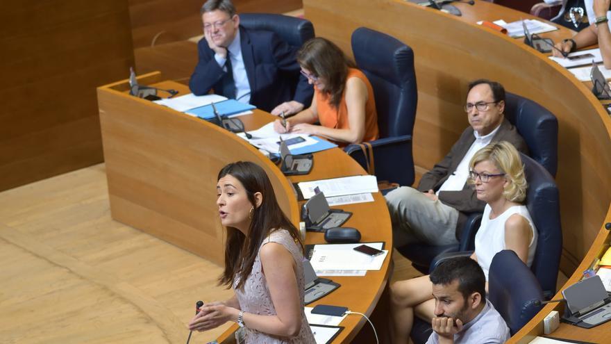 La consellera de Sanidad, Carmen Montón, en las Corts Valencianes.