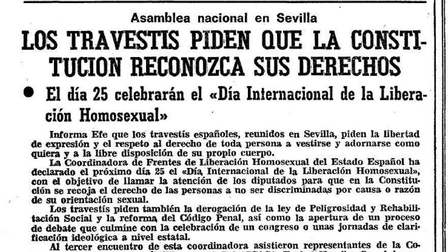 Noticia del ABC sobre la asamblea nacional celebrada el 8 de junio de 1978 en Sevilla