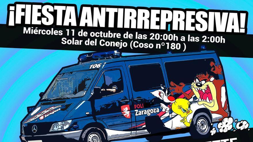 Cartel de la Fiesta Antirrepresiva organizada por el Grupo de Derechos Civiles 15M Zaragoza.