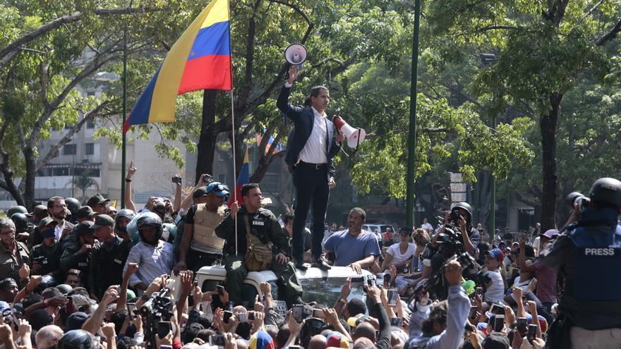 El autoproclamado presidente de Venezuela, Juan Guaidó, durante las protestas en Venezuela.