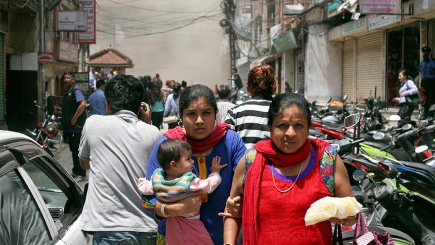 Supervivientes del terremoto que ha azotado Nepal este 12 Mayo, en Katmandú. / Srikanth Kolari (ActionAid).