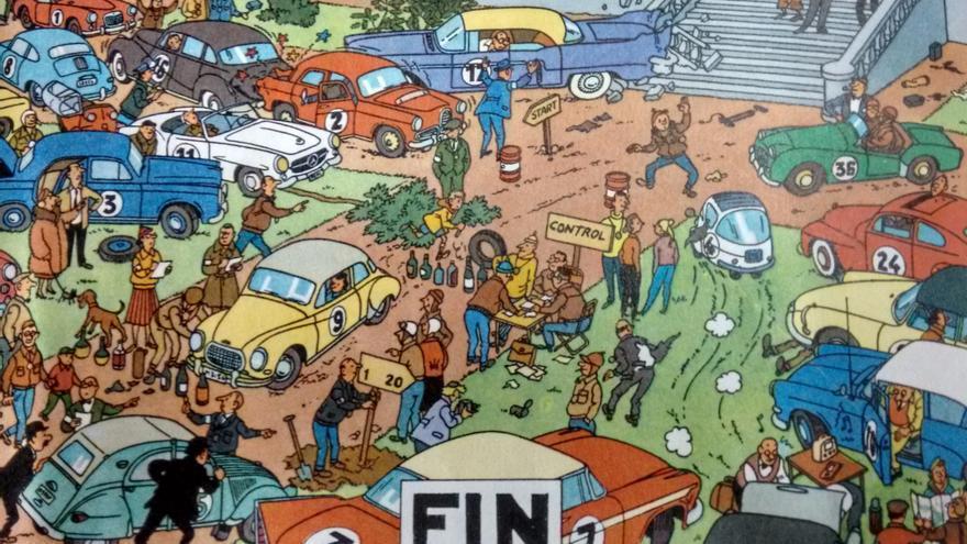 A Hergé le gustaban tanto los coches que lo reflejó en las aventuras de Tintín, con numerosos modelos a través de las décadas (Imagen: © Moulinsart 2017 y Editorial Juventud)