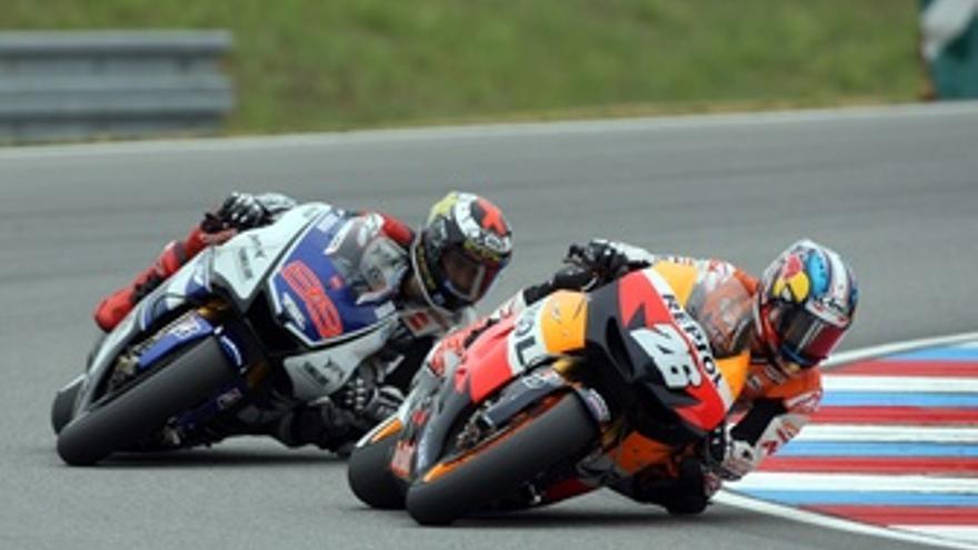 Dani Pedrosa y Jorge Lorenzo Brno 2012