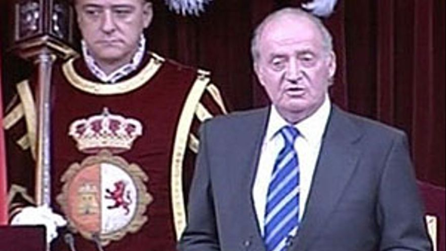Don Juan Carlos durante su discurso.