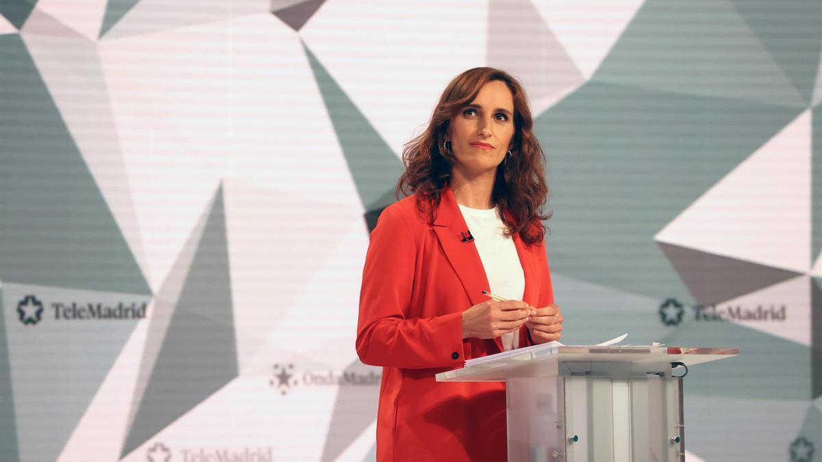 La candidata a la presidencia de la Comunidad de Madrid por Más Madrid, Mónica García, durante el debate de Telemadrid