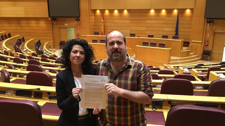 Maribel Mora y Oscar Guardingo, senadores del grupo Podemos-En Comú-Compromís-En Marea.