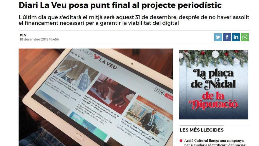 Anunci de Diari La Veu sobre el tancament de la seua edició.
