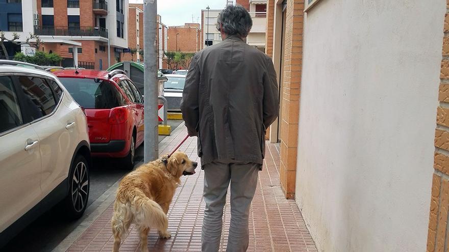 Un vecino del Bulevar Blasco Ibáñez de Castellón paseando su mascota