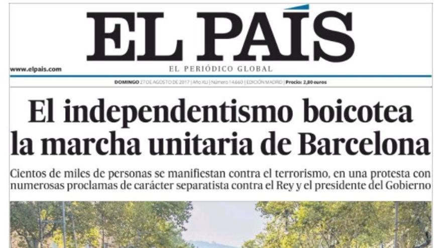 Portada de El País del 27 de agosto.