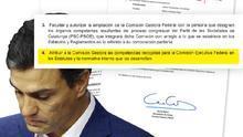 Captura de la resolución del Comité Federal que tumbó a Pedro Sánchez