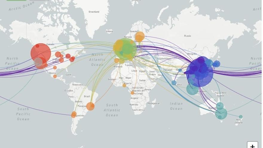 Mapa global de Nextstrain con la reconstrucción de la propagación geográfica de los virus SARS-CoV-2. Se visualizan 529 genomas muestreados entre diciembre de 2019 y marzo de 2020.