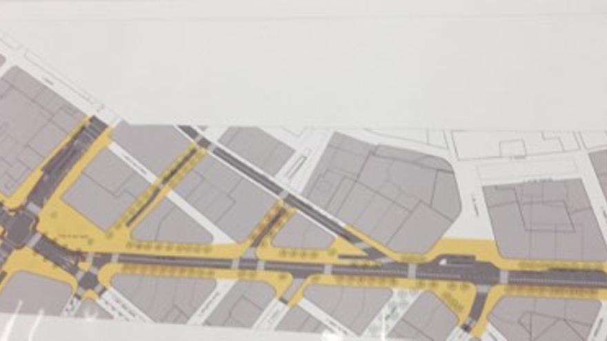 Futura planta viaria del eje San Vicente, San Agustín, avenida del Oeste, con las nuevas zonas peatonales en amarillo