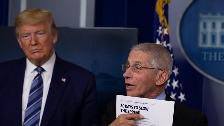 US President Donald Trump (L) listens Anthony Fauci (R), Director of the National Institute of Allergy and Infectious Diseases, speak during a coronavirus briefing at the White House in Washington, DC, USA, 05 April 2020.