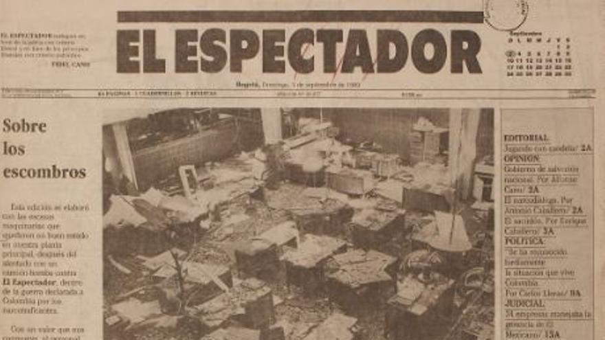Portada del periódico tras el atentado con bomba de su sede en Bogotá.   FOTO: Archivo fotográfico El Espectador.