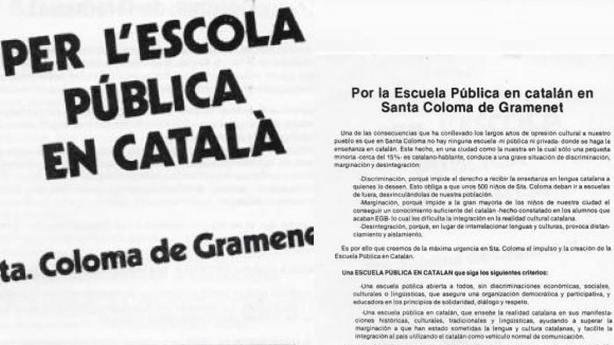 Panfleto para una escuela en catalán en Santa Coloma de Gramenet
