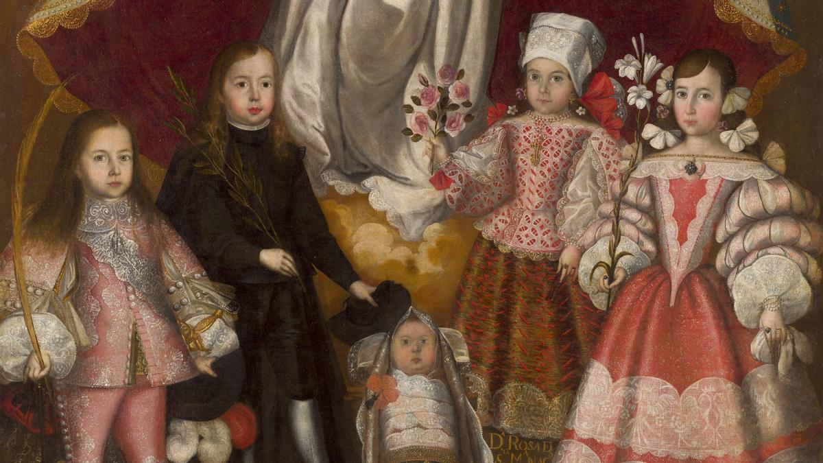 Fragmento del cuadro 'Patrocinio de la Inmaculada sobre los hijos del virrey Conde de Lemos Obrador de Francisco de Escobar' (1672) forma parte de la exposición 'Tornaviaje'