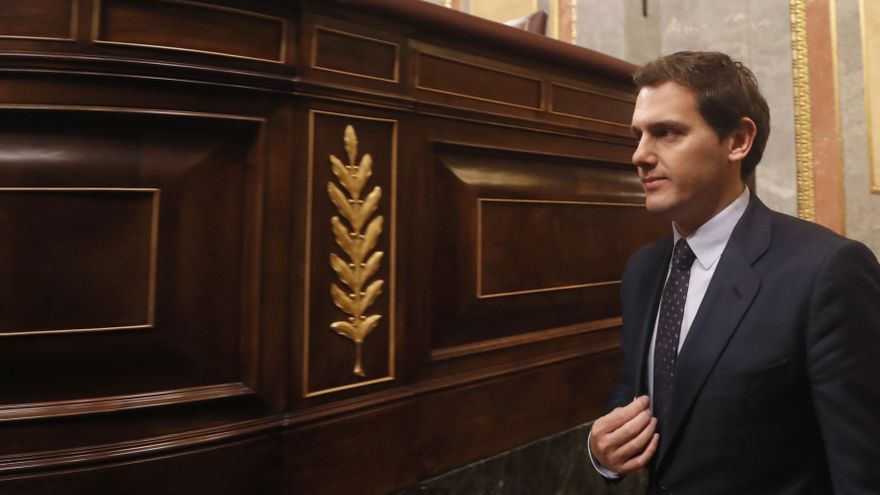 Albert Rivera, a su llegada al Congreso en la primera jornada de la moción de censura presentada por el PSOE contra el Gobierno.