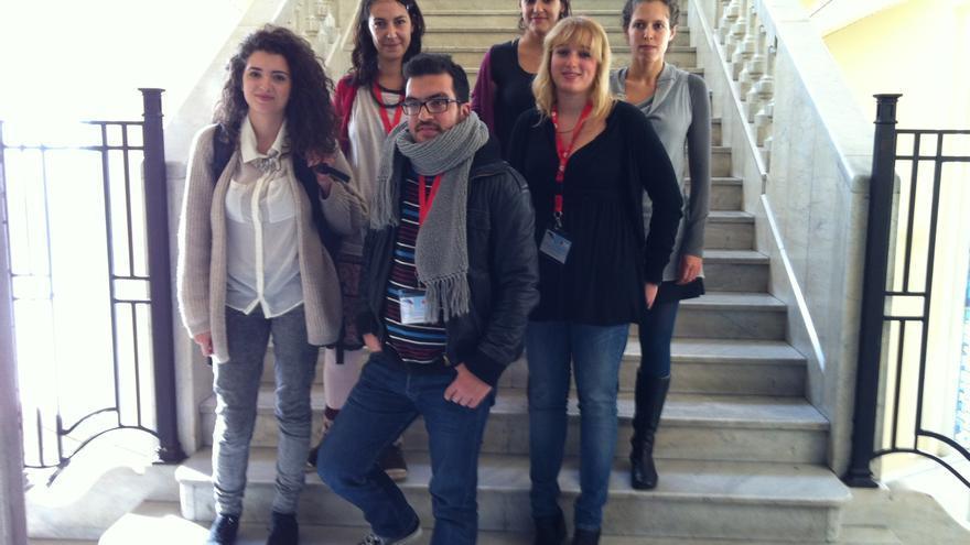 Joana, Pavlos, Armanda, Mary, Lucía y Mariu, en Madrid.