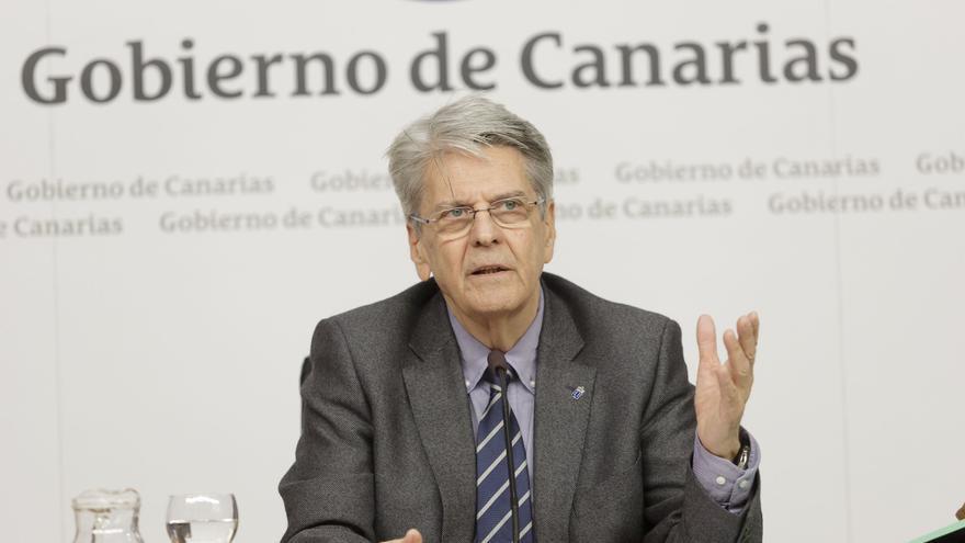 Julio Pérez, portavor del Gobierno durante la rueda de prensa del Consejo de Gobierno.