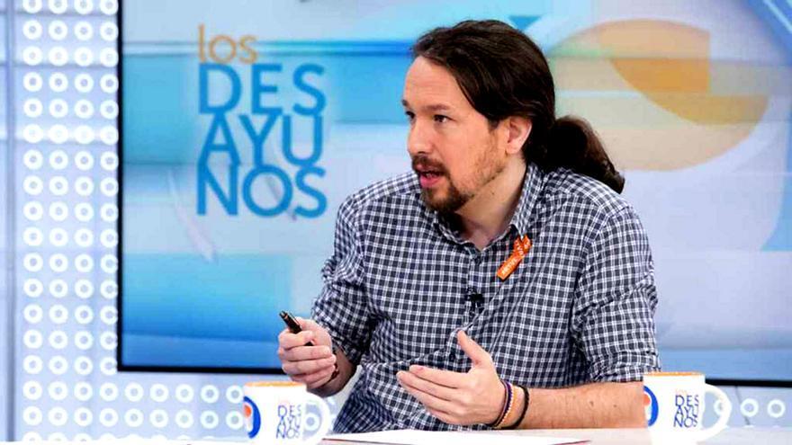 Pablo Iglesias, durante una entrevista en 'Los desayunos'