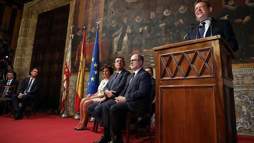 El president de la Generalitat, Ximo Puig, durante su intervención con motivo de las celebraciones del 9 d'Octubre
