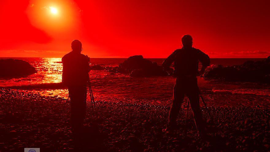 Imagen de la playa de Los Guirres (Tazacorte) obtenida en el taller fotográfico  de larga exposición diurna