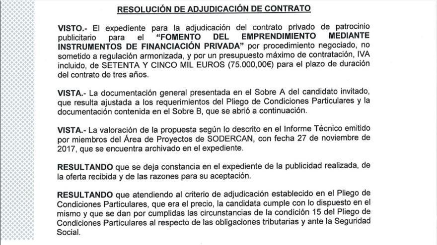El pliego de condiciones se aprobó el 23 de noviembre y el contrato a FIDBAN se adjudicó el 28.