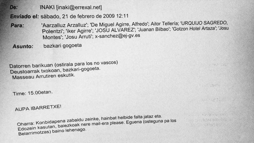 Correo electrónico enviado por Iñaki San Juan a De Miguel, Sánchez Robles, Montes o Tellería