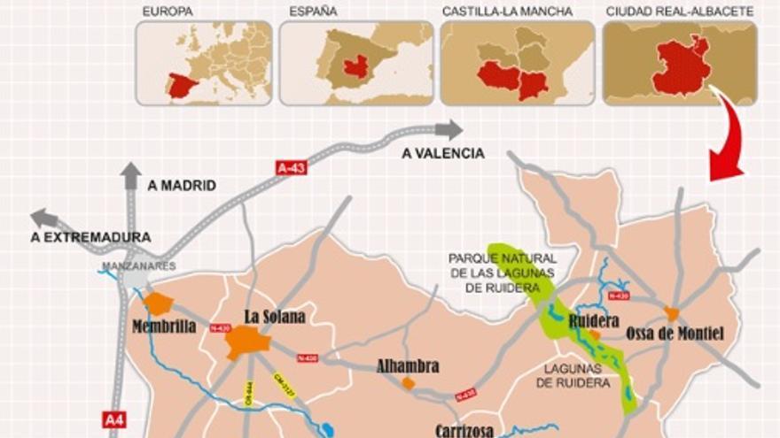 Mapa de la comarca del Campo de Montiel entre Ciudad Real y Albacete