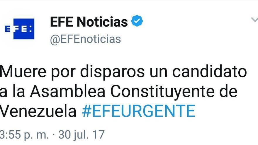 Tuit de EFE