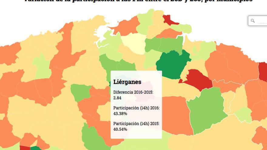Mapa con los datos de participación municipio a municipio