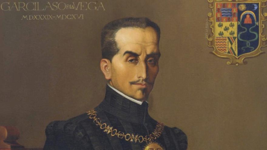 Detalle del retrato del Inca Garcilaso, obra del pintor cuzqueño Francisco González Gamarra