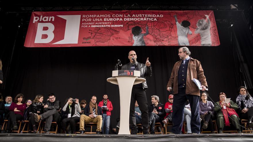 Yanis Varufakis, durante el mitin de cierre de las jornadas del Plan B en Madrid.