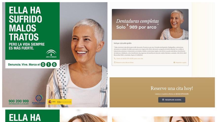 La campaña del Gobierno andaluz contra la violencia de género anuncia que son imágenes de mujeres que han sufrido maltrato, aunque fueron sacadas de un banco de imágenes y usadas en otros anuncios publicitarios.