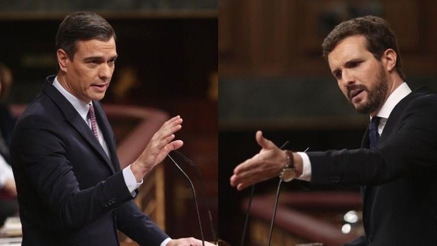 Arranca la reunión entre Sánchez y Casado tras saludarse con un apretón de manos en Moncloa