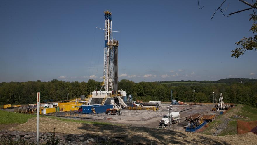 Un pozo de extracción de gas mediante la técnica de fracking