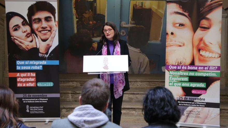 La vicepresidenta del Consell, Mónica Oltra, en la presentación de la campaña por el 25N