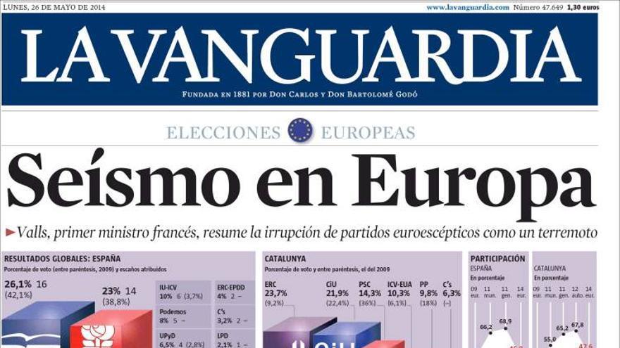 Portada de La Vanguardia del 26 de mayo de 2014