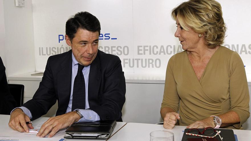 Aguirre y González durante una reunión del PP de Madrid.