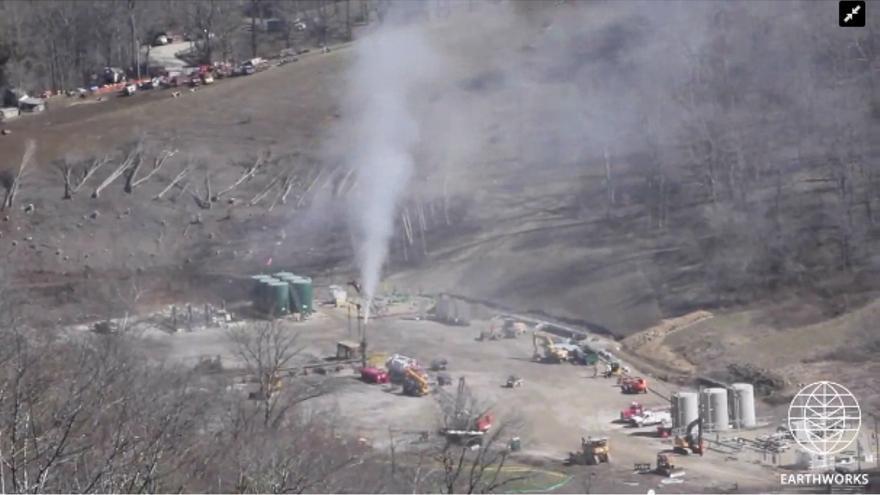 Imagen de una fuga de metano detectada en marzo de 2018 por Earthworks.