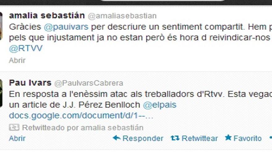 Tuits de Amalia Sebastián y Pau Ivars