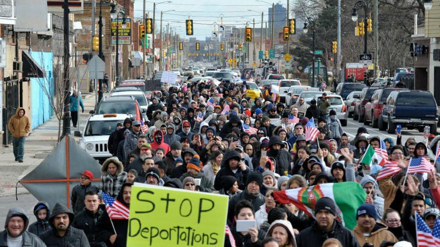 """Protesta el pasado mes de febrero bajo el lema """"Un día sin inmigrantes"""" (AP)"""