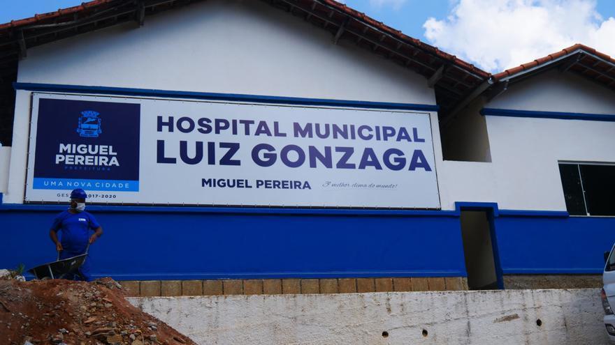 Obras de ampliación en el hospital donde fue ingresada la víctima, en el municipio Miguel Pereira en el Estado de Río de Janeiro